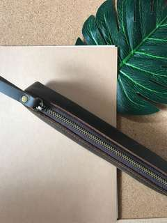 Cow Hide Soft Leather Pencil Case