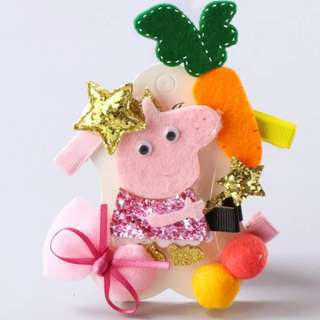 BN Pretty Girls' Assorted Peppa Pig Carrot Bow Hair Clips Accessories Set