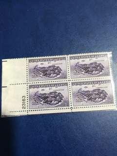 美國方連郵票 連數字邊