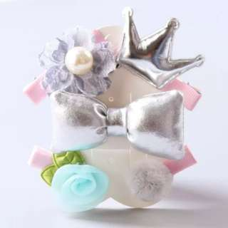 *In Stock* BN Pretty Girls' Assorted Chiffon Flowers Puffy Bow Hair Clips Accessories Set
