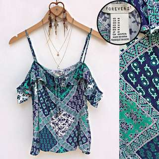 Forever 21 Scarf Print Blue Cold Shoulder Top