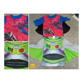 Spiderman and Buzz Lightyear costume shirts
