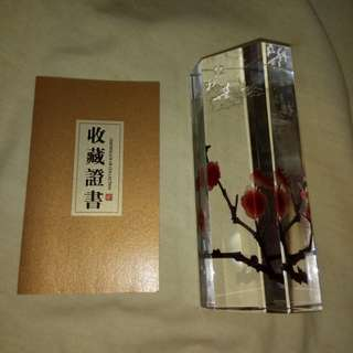 A very beautiful collector's item special- crystal with flowers craving 水晶梅花镇纸