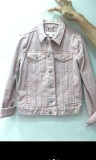 H&M粉紅色牛仔外套
