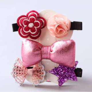 *In Stock* BN Pretty Girls' Assorted Flowers Puffy Bow Glitter Star Hair Clips Accessories Set
