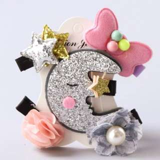 *In Stock* BN Pretty Girls' Assorted Flowers Crescent Moon Glitter Stars Bow Hair Clips Accessories Set