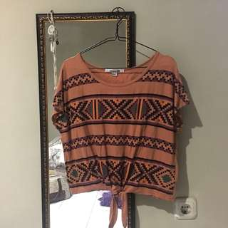 FOREVER21 Aztec Front Knot Top