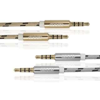 🚚 鋁合金AUX立體聲音源線3.5公對公接頭 三環四節 音源傳輸線-(金色)120公分