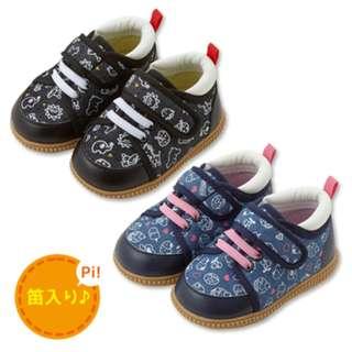 日本 嬰兒幼兒pipi鞋 黑色/藍色