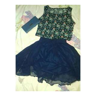 One Set ( Navy Floral Top With Navy Flare Skirt)