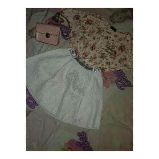One Set ( Peach Croptop With Brocade Skirt )