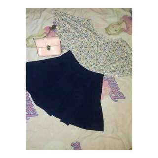 One Set (Floral Top With Navy Skirt)