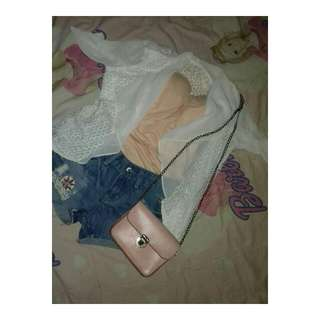 One Set (Hotpants With Peach Bustier&cardigan)