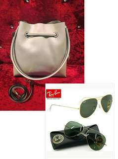 Authentic Rayban sz 62 and Charles & Keith Bucket Bag Overrun