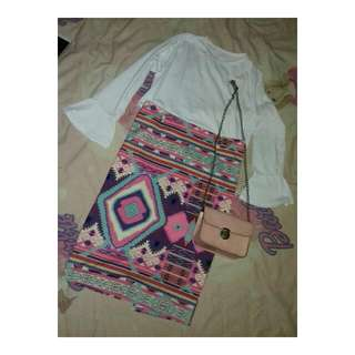 One Set (White Top With Tribal Pencil Skirt)
