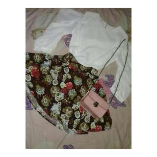 One Set (Off Shoulder Top With Floral Skirt)