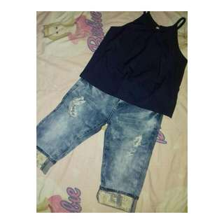 One Set (Navy Stripe Top With Ripped Jeans)