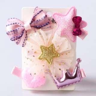 *In Stock* BN Pretty Girls' Assorted Bow Star Love Heart Crown Hair Clips Accessories Set