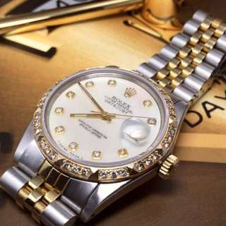 SOLD-       36mm Rolex Datejust Diamonds On Mother of Pearl