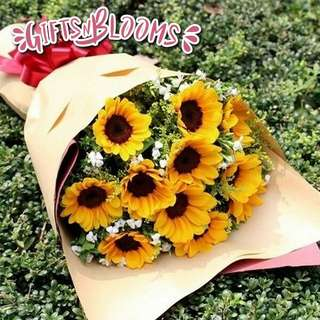 Fresh Flower Bouquet Anniversary Birthday Flower Gifts Graduation Roses Sunfowers Baby Breath -  4360     68