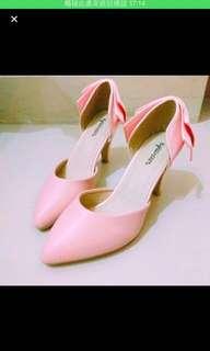 日代入粉色緞面蝴蝶結高跟鞋/低跟鞋