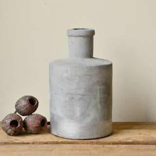 Modern Concrete Vase with Metallic Silver Detailing