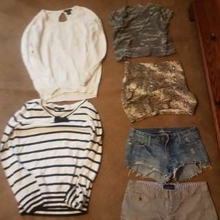 Assorted shirts and shorts