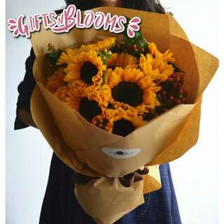 Fresh Flower Bouquet Anniversary Birthday Flower Gifts Graduation Roses Sunfowers Baby Breath -  7380     58
