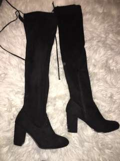 Knee High Black Boots Size 6