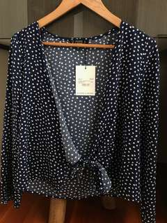 All about Long Sleeve Tie Top Navy/White Spot