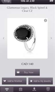 Pandora black stone ring (size 7 fits a 6 as well)