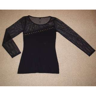 Brass button studded black top (XS)