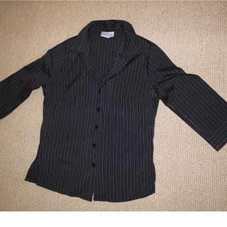 Ella J Black pin-stripped shirt (Size 10)