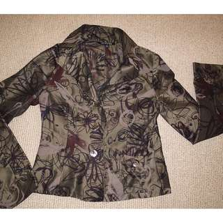 Charade printed silk Jacket style Top (Size : 8)