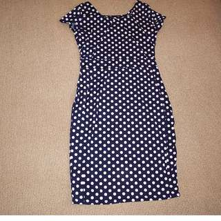 Navy Blue Polka Dotted Dress (Size : S-L)
