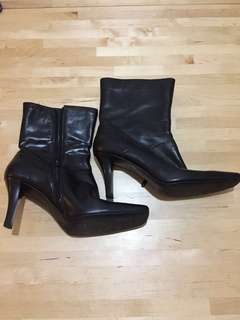 Nine West Black Heeled Leather Boots
