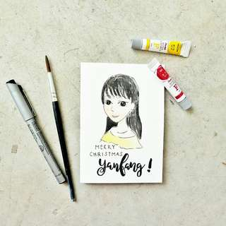 Customized Portrait Cartoon Doodle Birthday Wedding Graduation Baby Shower Congratulations Watercolour Brushlettering Calligraphy Cards