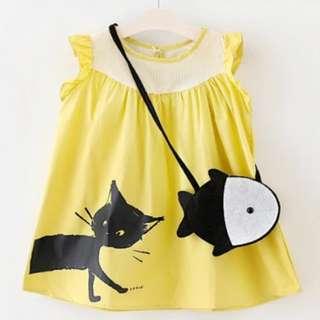 黃色連身裙送小袋