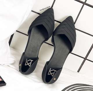 Melissa Basic Black Rubber Covered Flats Shoes