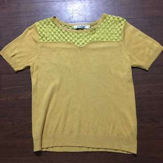 calico yellow blouse