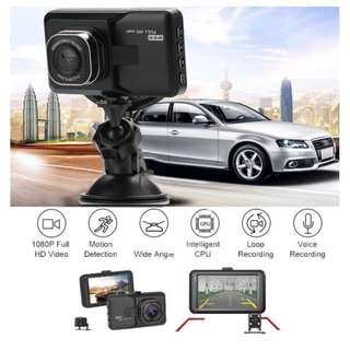 """Ready Stock - Dual Lens Car DVR Camera With 3"""" LCD - Front & Rear, Night Vision, Loop Recording"""