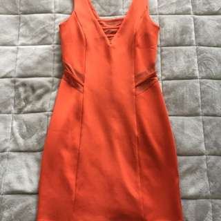 Orange Mesh Cuts Bodycon Dress - Size S