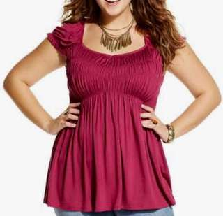 American Rag Plus Size Ladies Top Size XL Burgundy Baby Doll Top BNWT