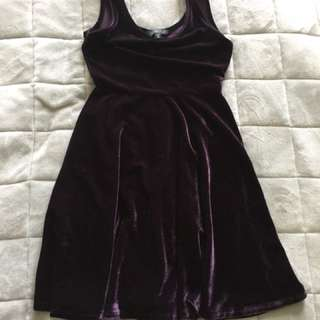 Deep Purple Velvet Dress - Size 6