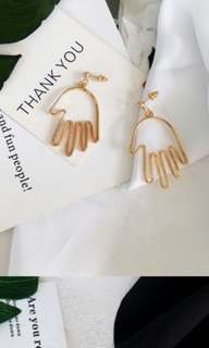 Hand shape drop earrings