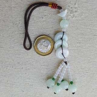 18cm Type A Jadeite Pendant Display Grade A Myanmar 100% Natural Green Jade Donuts 平安扣