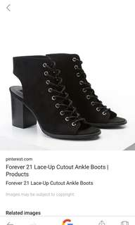 (1day sale!!!) from 1k to 700!!!Forever 21 peep toe lace up boots