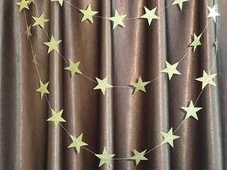 4m gold star garland