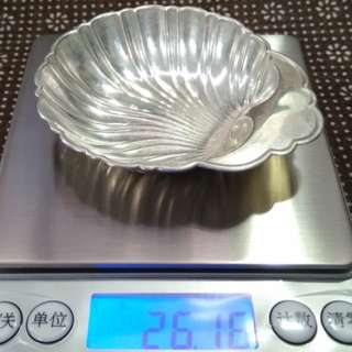 CANADA Antique 1945 Sterling Silver Shell Dish/ Sauce Dish, HENRY BIRKS & SON, 26.16g, 8.7cm width x1.7cm tall, 加拿大純銀古董貝殼形碟/醬油碟 (實用+裝飾擺設)  www.925-1000.com/canadiansilver_01.html  www.925-1000.com/forum/viewtopic.php?t=31780