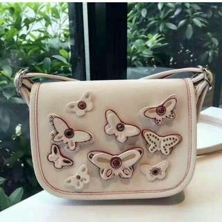FREE SHIP Coach Bag crossbody sling with butterfly patches white